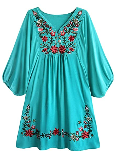 BOLAWOO Mujer Tunicas Elegantes Vintage Boho Etnica Estilo Bordado Mode De Marca Flores V-Cuello