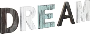 MyGift Rustic Multicolor Wood Dream Cutout Letters Decor Sign