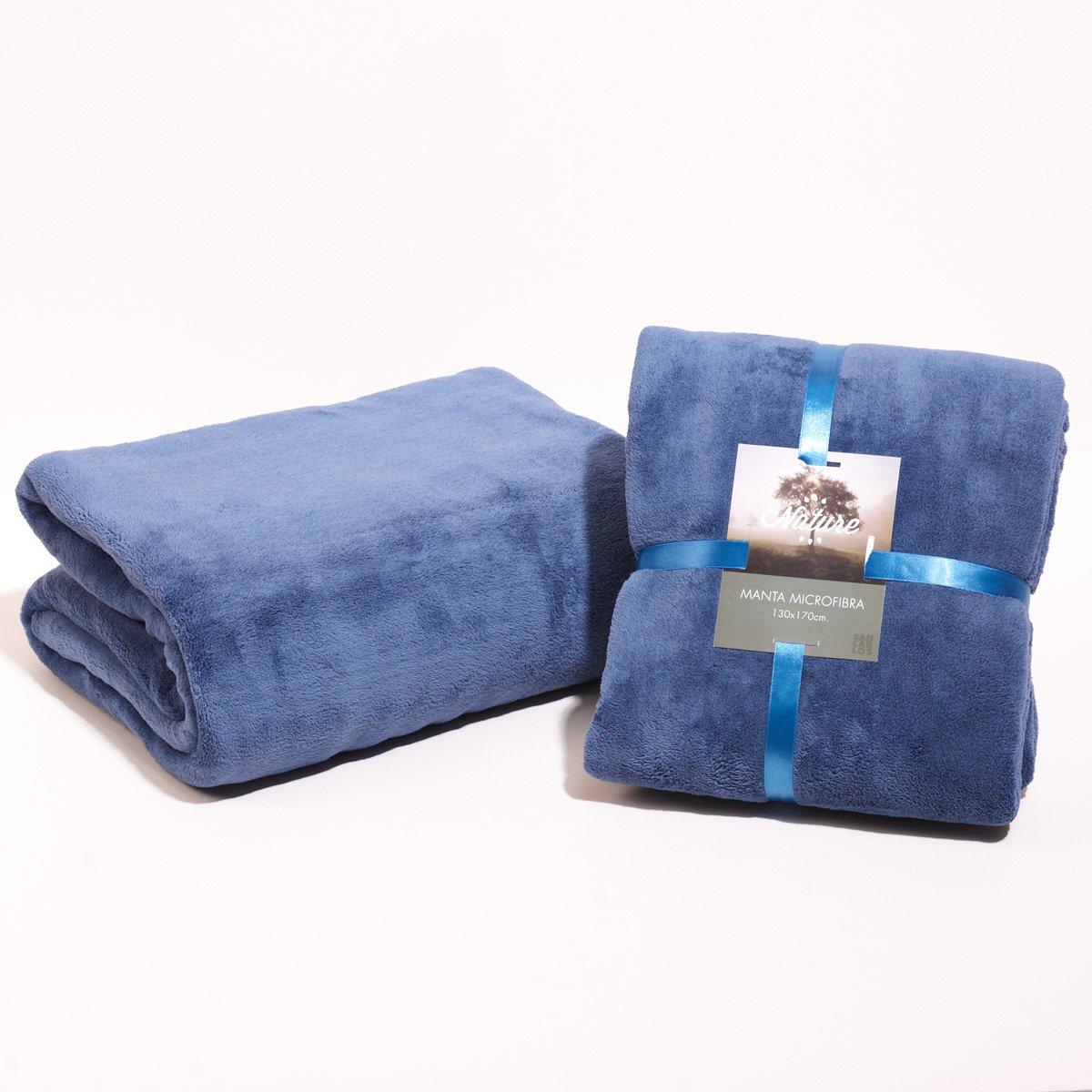 Sancarlos - Manta lisa microfibra azul - microfibra 300 g. - Cama 150, 235x240 cm - azul