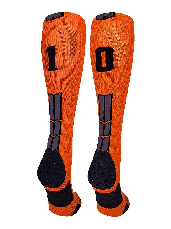 qicaiyang Orange/Black Player Id Custom Over The Calf Number Socks (Pair)