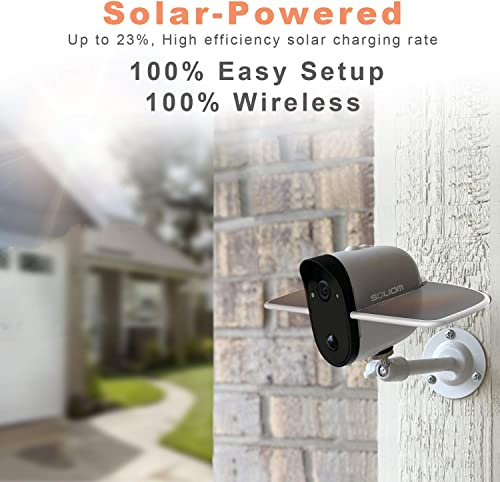 Soliom Outdoor Solar Powered Wireless Security Camera, Soliom S60 Indoor WiFi IP Cam with Full HD 1080P Video, Motion Detection Activity Alert, IP66 Waterproof and Night Vision, iOS Android APP