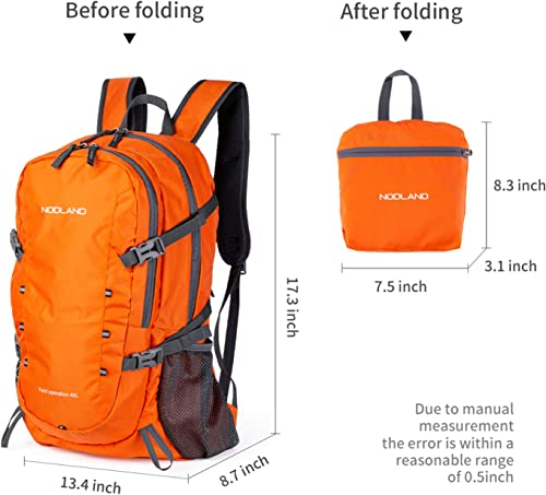 NODLAND Lightweight 40L Travel Backpack, Carry on Foldable Waterproof Daypack