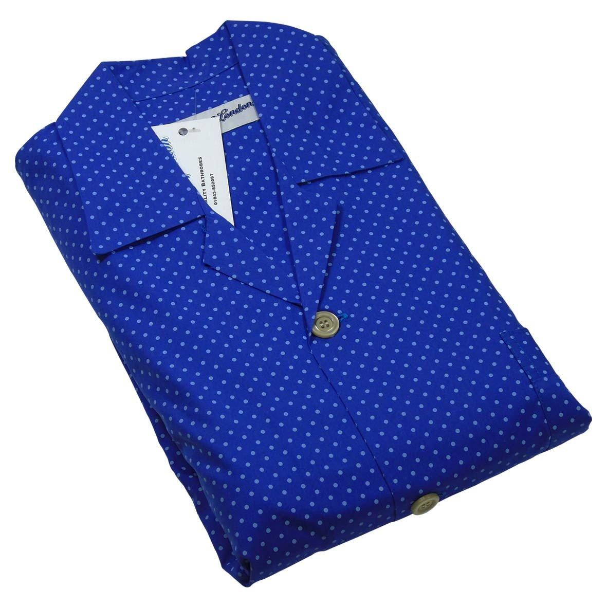 Men's Chelsea Blue Spot Pajamas Set, Fine Brushed Cotton Top & Trousers, Royal Blue Medium by Bown of London (Image #1)