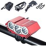 Gufo LED per bicicletta 7500 Lumen, impermeabile, XML U2 LED-Luce per bicicletta a LED, pacco batteria, caricatore, 4 modalità (rosso)