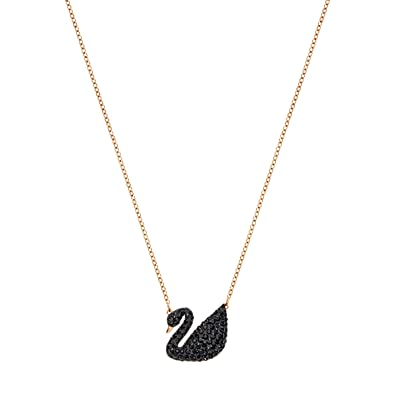 250451e2bc580 Swarovski Women's Rose Gold Plating and Black Crystal Iconic Swan Necklace  Pendant