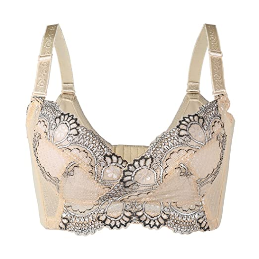 dfb4852326 uxcell Women Floral Lace Front Scalloped Push Up Thin Cup Wireless Bra  Beige 70C