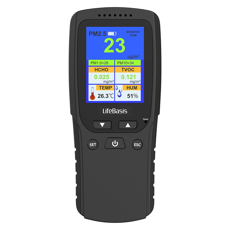LifeBasis Moniteur de Qualité de l'Air Tests Précis PM2.5 Détecteur de Particule Formaldéhyde HCHO avec PM1.0 PM10 TVOC TEMP HUM AQI Multi Test pour Voiture Intérieur Plein Air