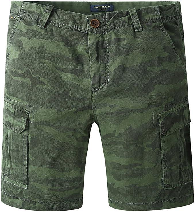 JINSHI Hombre Pantalones Cortos Cargo de Algodón: Amazon.es: Ropa y accesorios