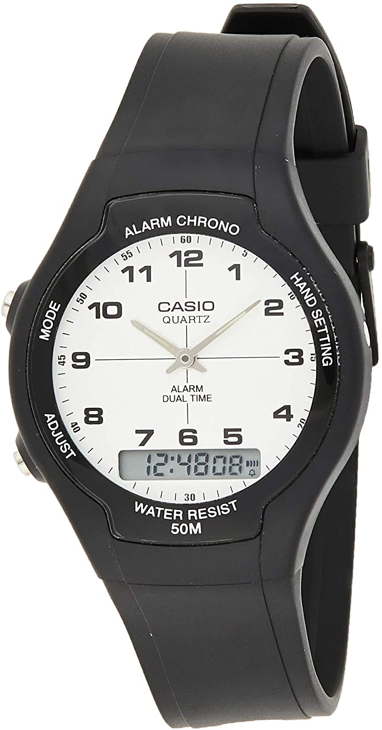 Casio Men s AW90H-7B Sport Multi-Function White Dial Dual Time Watch