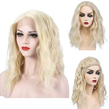 Amazon Com Blonde Lace Front Wig Women Wavy Lace Synthetic Short
