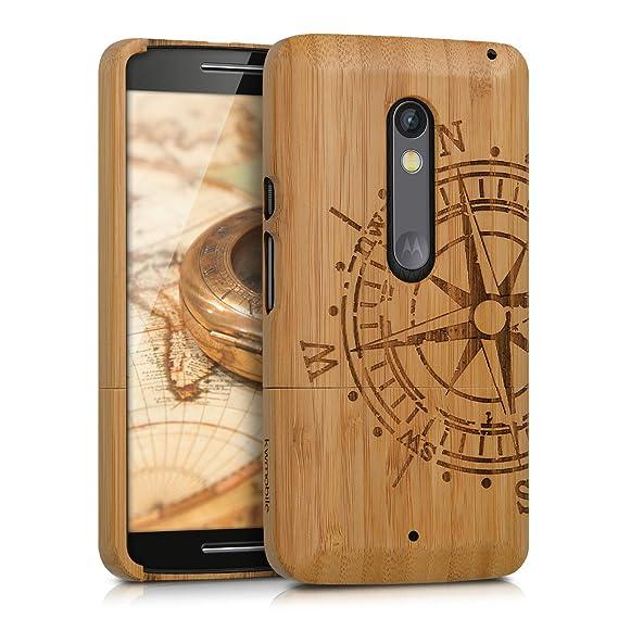 e5eb261770f kwmobile Funda para Motorola Moto X Play - Carcasa Protectora de [bambú]  para móvil - Case [Duro] con diseño de compás: Amazon.com.mx: Electrónicos