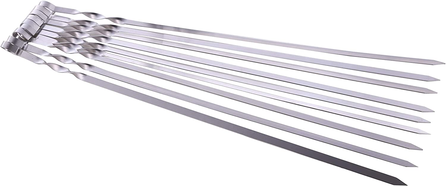 """Hakka Stainless Steel Barbecue Skewers, 23"""" Heavy Duty Large Wide Grilling Reusable Kabob Sticks with Nonslip Ring Handle,Set of 10"""