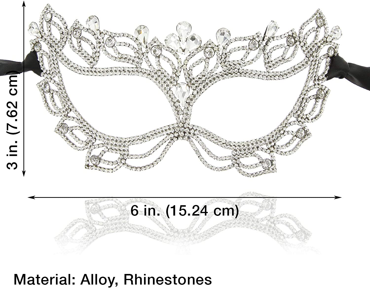 Soft Fabric Masquerade Mask Crystal Jewels Venetian Prom Black Silver Pink