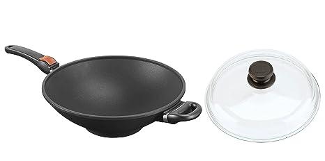 SKK 2764 Titanium 2000 Plus - Sartén tipo wok con tapa de cristal (32 cm
