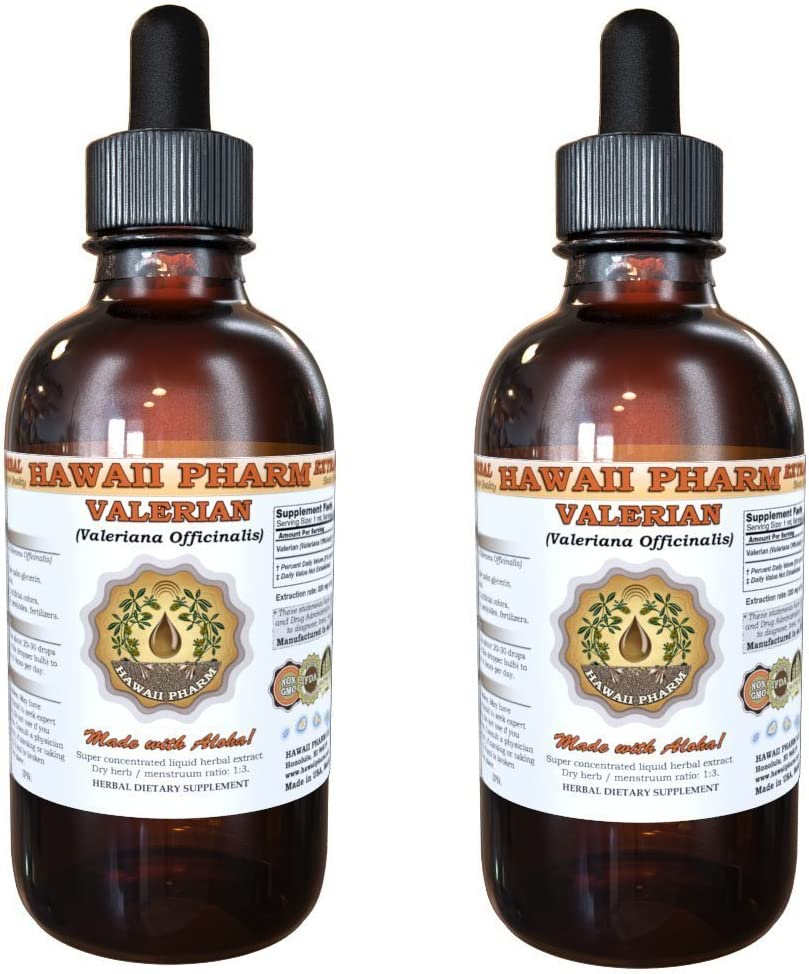 Valerian Liquid Extract, Organic Valerian Valeriana Officinalis Dried Root Tincture, Herbal Supplement, Hawaii Pharm, Made in USA, 2×2 fl.oz