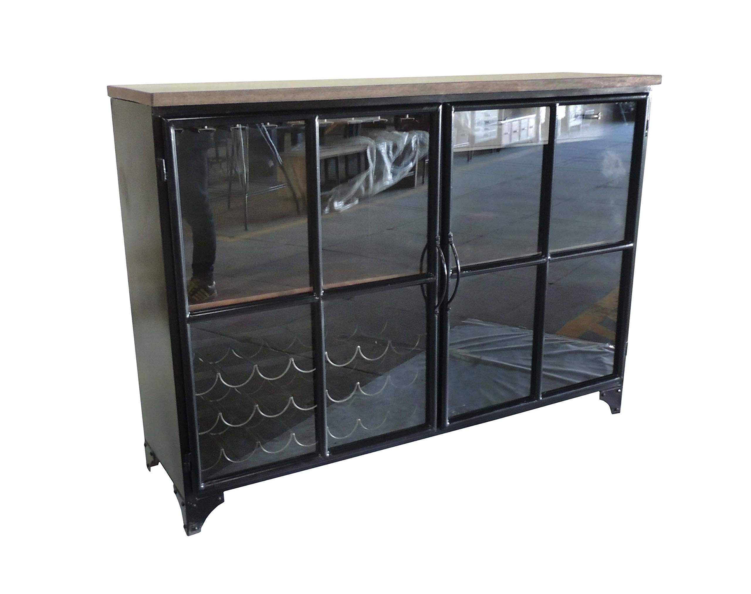 Designe Gallerie Odila Door Bar Bottle and Glass, Storage, Wine Cabinet-Gunmetal Tobacco Black, Natural by Designe Gallerie