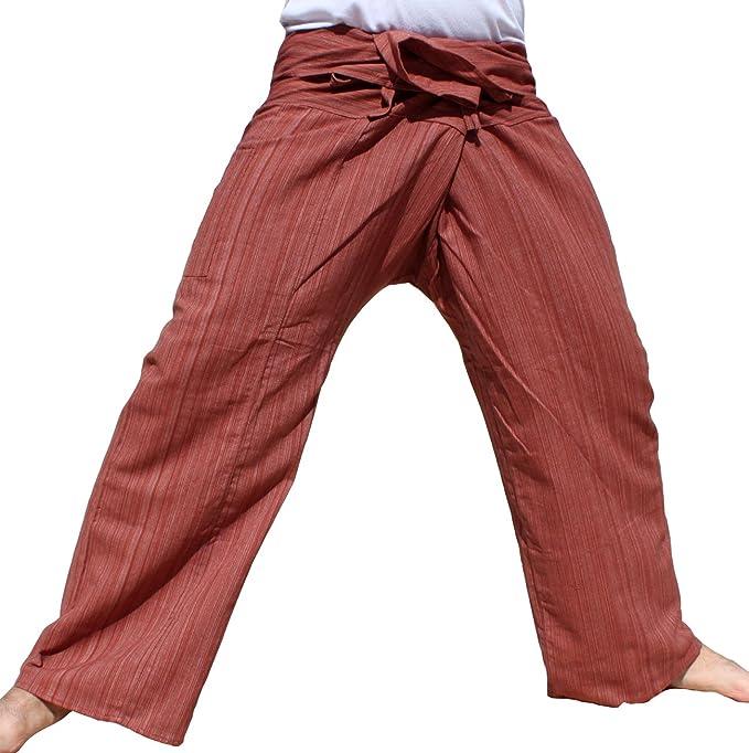 RaanPahMuang Light Striped Cotton Tall Thai Fisherman Wrap Pants Plus