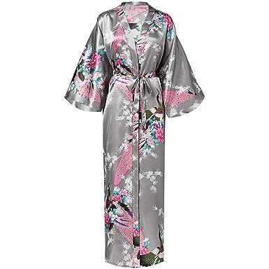 Bata Larga para Mujer Imprimir Flor Kimono Bata de baño ...