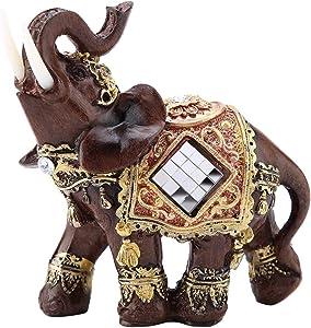 Lucky Wealth Elephant Statue Sculpture Feng Shui Wood Grain Figurine Home Desktop Decoration Gift(M)