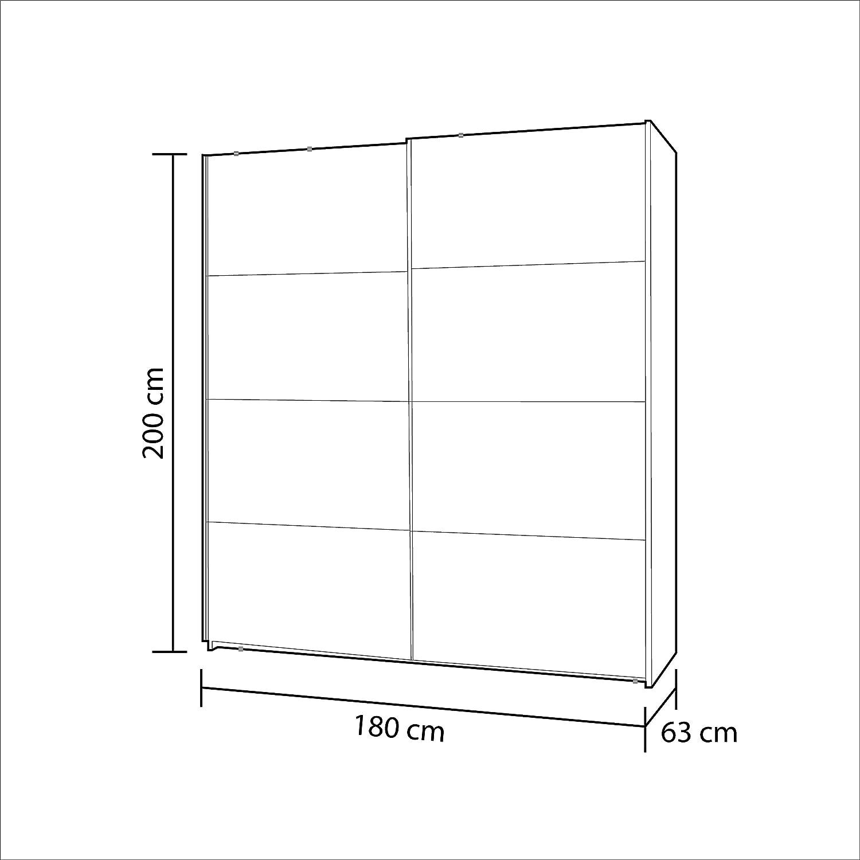 Habitdesign ARC180BO - Armario Dos Puertas correderas, Armario Dormitorio Acabado en Color Blanco Brillo, Medidas: 180 (Ancho) x 200 (Alto) x 63 cm ...
