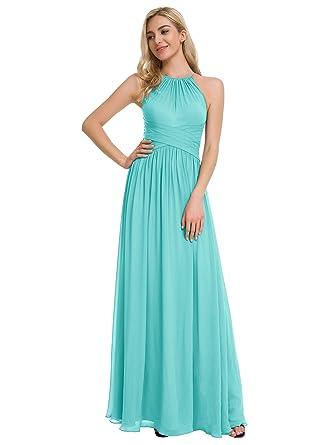 cb7df4f707f Alicepub Halter Chiffon Bridesmaid Dresses Long Formal Evening Gowns Prom  Maxi Dress