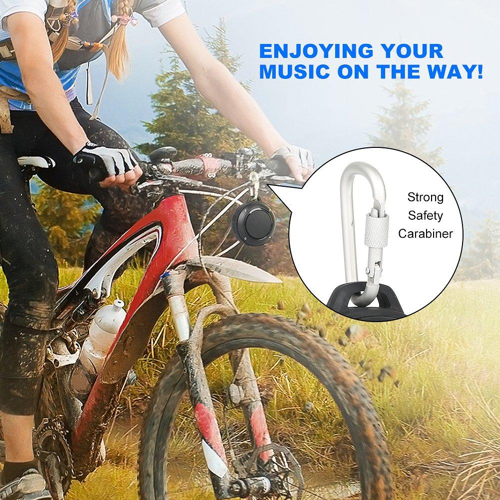 Outdoor Waterproof Bluetooth Speaker,Kunodi Wireless Portable Mini Shower Travel Speaker with Subwoofer, Enhanced Bass, Built in Mic for Sports, Pool, Beach, Hiking, Camping (Black) by Kunodi (Image #5)