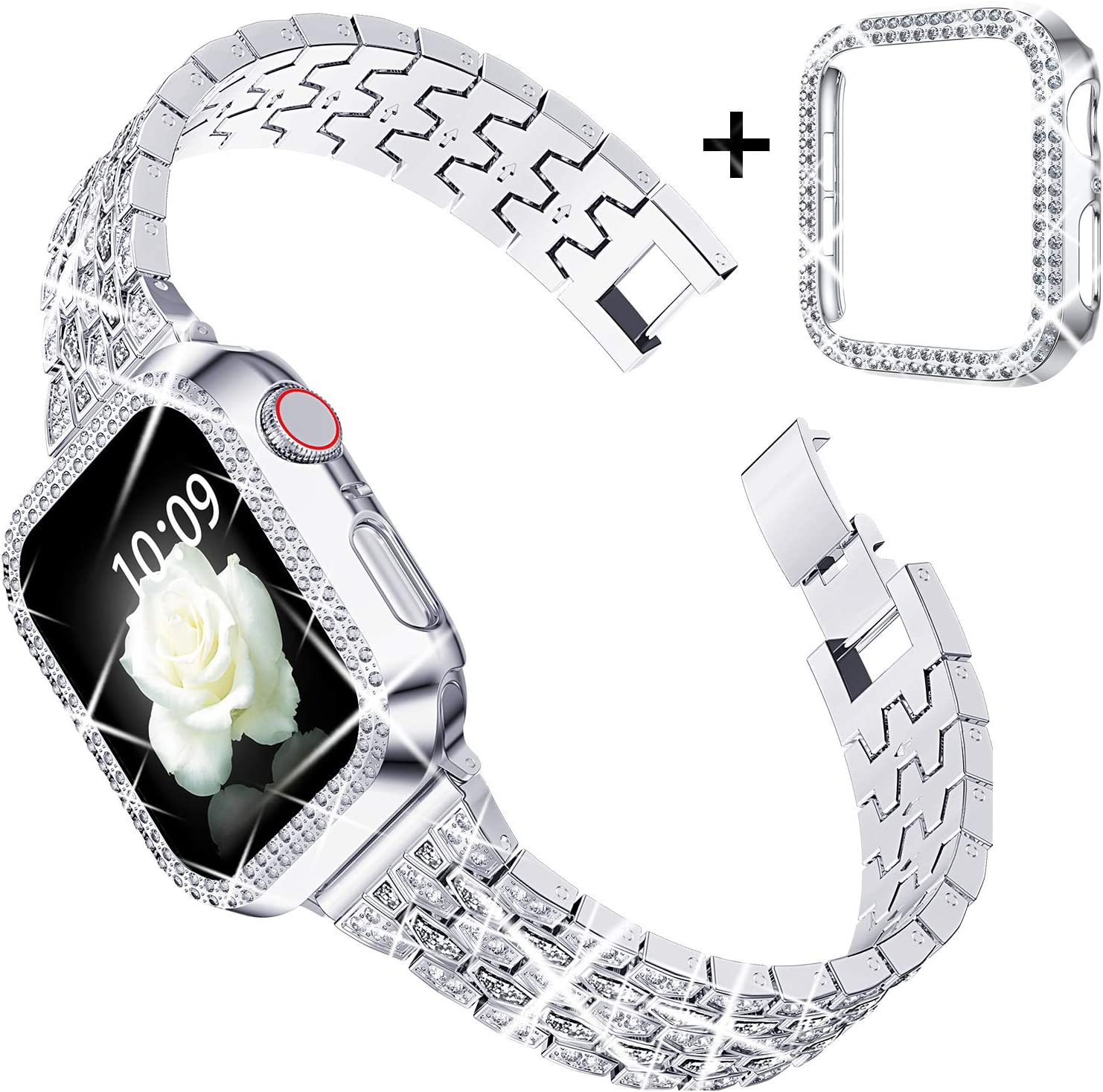 Goton Bing Watch Bands Compatible for Apple Watch 38mm 40mm 42mm 44mm SE Series 6 5 4 3 2 1 Women Diamond Metal Wristband Replacemen Strap Bracelet & Bling Bumper Protective Edge Case (Silver, 40mm)