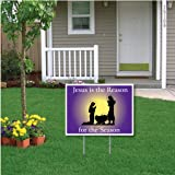"""""""Jesus Is the Reason for the Season"""" Christmas Lawn Display (Purple Manger)- 18''x24'' Yard Sign Decoration"""