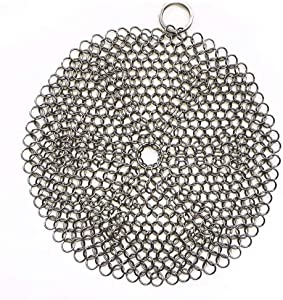 316 Premium Stainless Steel Cast Iron Cleaner, Chainmail Scrubber for Cast Iron Pan Pre-Seasoned Pan Dutch Ovens Waffle Iron Pans Scraper Cast Iron Grill Scraper Skillet Scraper Round (8 Inch)