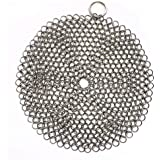 316 Premium Stainless Steel Cast Iron Cleaner, Chainmail Scrubber for Cast Iron Pan Pre-Seasoned Pan Dutch Ovens Waffle…