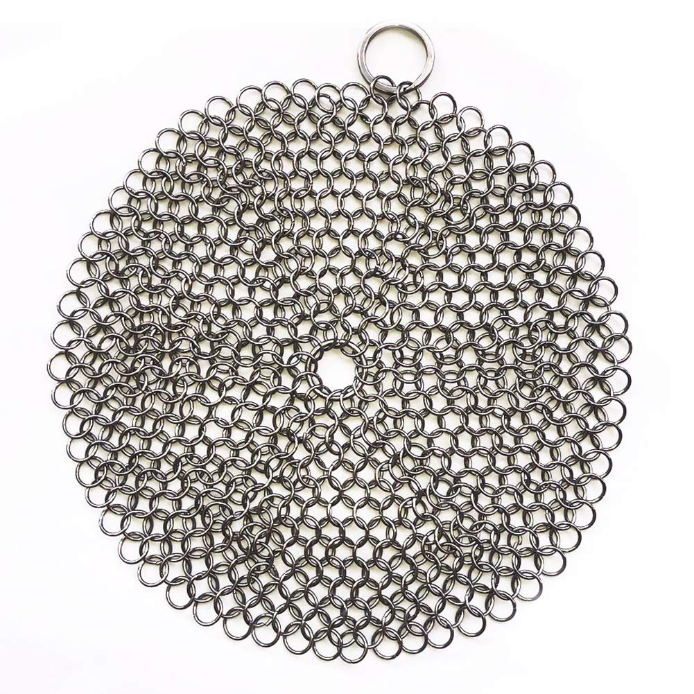 316 Premium Stainless Steel Cast Iron Cleaner, Chainmail Scrubber for Cast Iron Pan Pre-Seasoned Pan Dutch Ovens Waffle Iron Pans Scraper Cast Iron Grill Scraper Skillet Scraper HOVhomeDEVP (7 Inch)