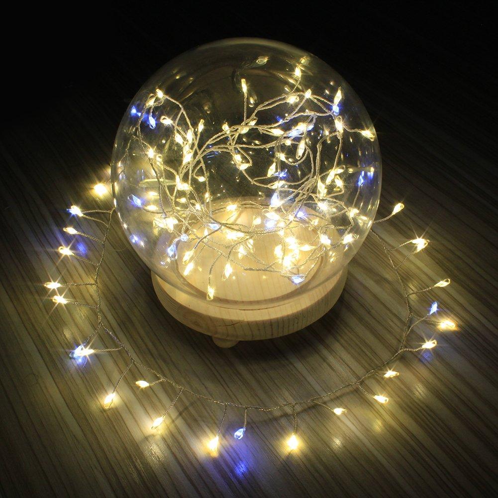 Lichterketten 2m 120 LED USB Betrieb für Weihnachten Party Hochzeit Fest Hause Deko (warmweiß & blinkend LED) XEMQENER