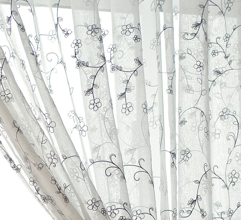 Aside Bside Sheer Curtains Permeable Window Decoration Floral Vines Knitting Pure Style Rod Pocket Top For Houseroom Child Room and Sitting Room (1 Panel, W 52 x L 63 inch, Grey)