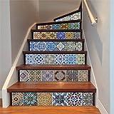 Piastrelle Adesivi Backsplash, fai da te impermeabile Sbucciare e Stick per la casa Talavera scala Decal scale murali Stickers per Scale Bagno Cucina, 18 centimetri x 100cm x 6PCS
