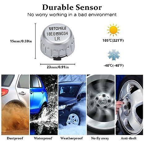 VETOMILE - TPMS Sistema Monitor de Presión de Neumáticos con 4 Sensores Externos Transmisión Inalámbrica Pantalla LCD con Función de Alarma en Tiempo ...