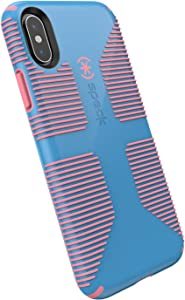 Speck Products iPhone Xs/iPhone X Case, CandyShell Grip, Azure Blue/Melon Pink