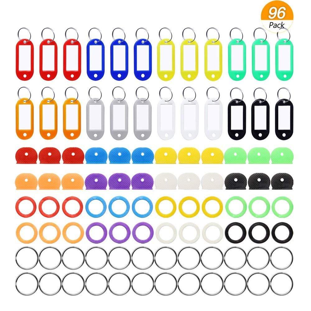 Meetory 96Lot touches organisation, 4Styles, 48pièces en caoutchouc capuchon de touche kit de Couvertures et 24pièces étiquettes en plastique coloré Identificateur Clé avec porte-clés de 24&