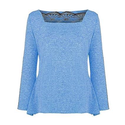 Luckycat Las Mujeres de Moda Casual Plus Size Lace Panel Square Neck T-Shirt Tops Solid Blusa: Amazon.es: Ropa y accesorios