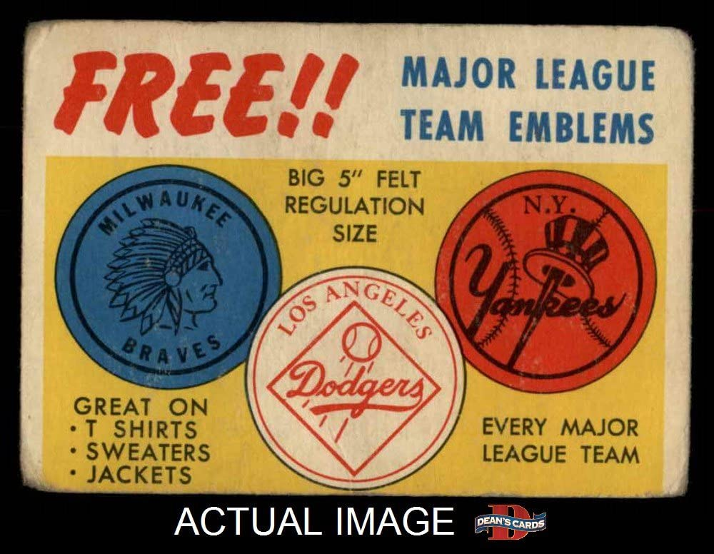 1958 Topps Felt Team Emblems (Baseball Card) Dean'S Cards 2 - Good
