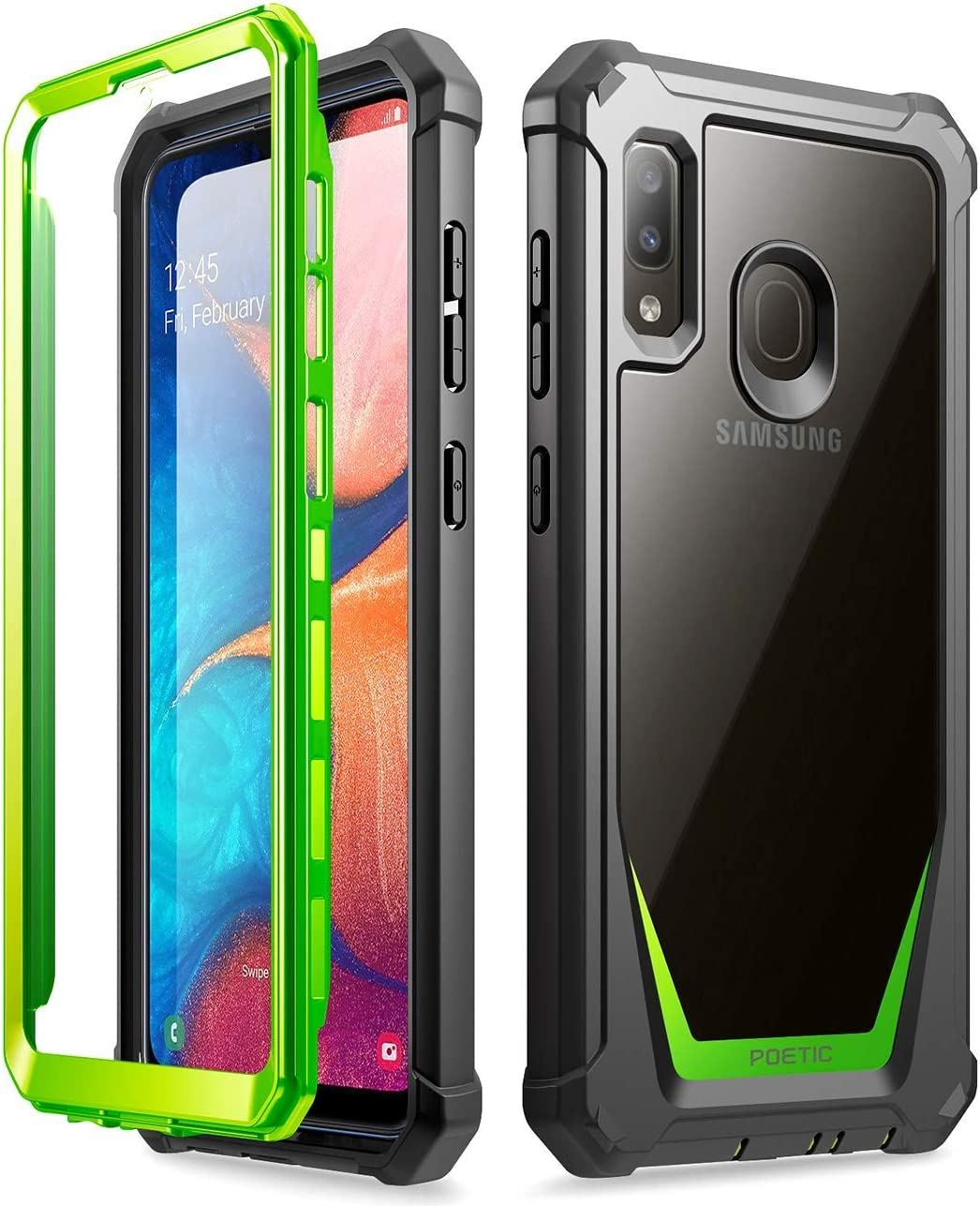 Galaxy A20 Rugged Clear Case, Galaxy A30 Case, Poetic Full-Body Hybrid Shockproof Bumper Cover, Built-in-Screen Protector, Guardian Series, Case for Samsung Galaxy A20 / Galaxy A30, Green/Clear