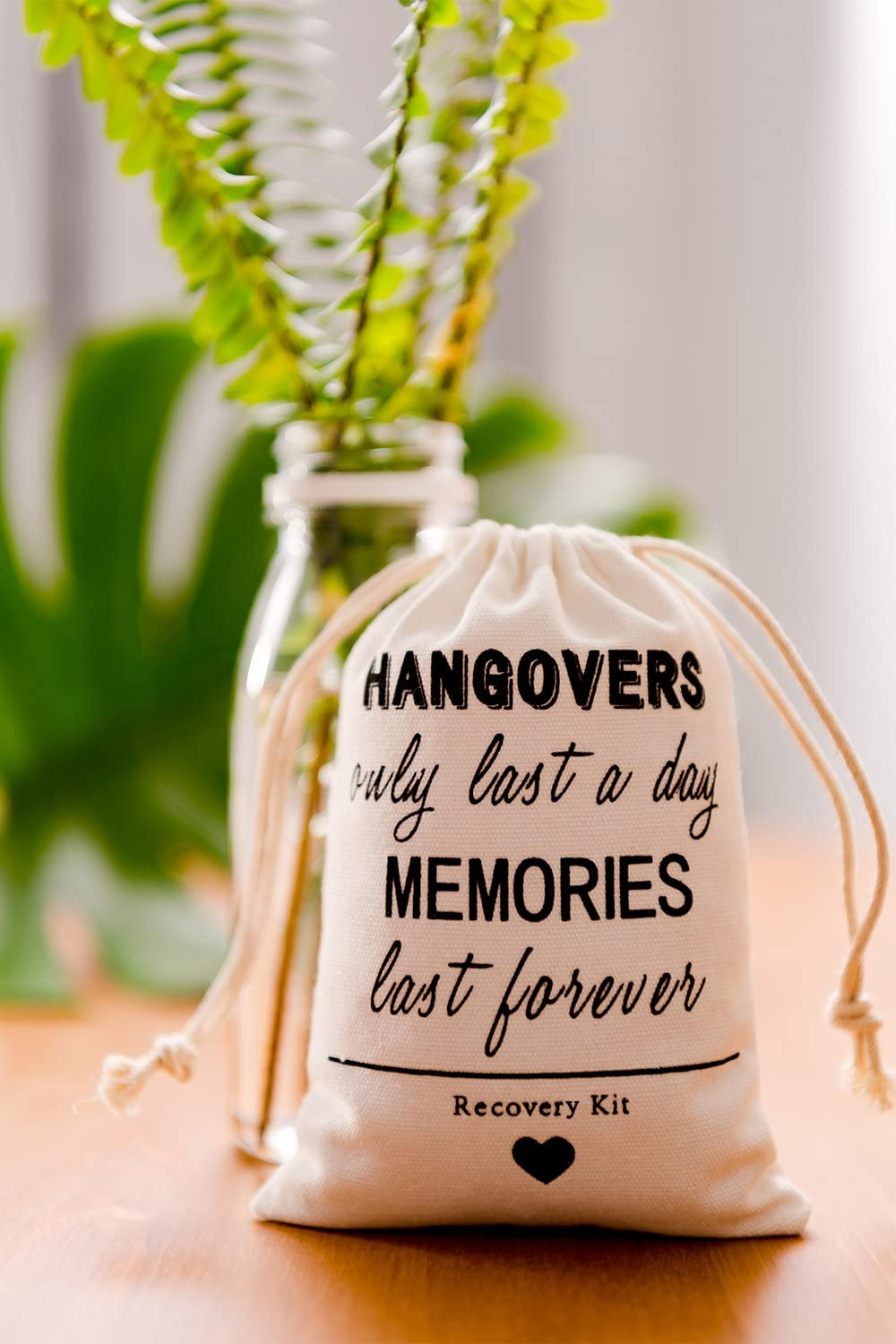 200 Birthday favor bags bachelorette party wedding bridal shower hangover recovery kit survival kit Hangovers only last a day memories last