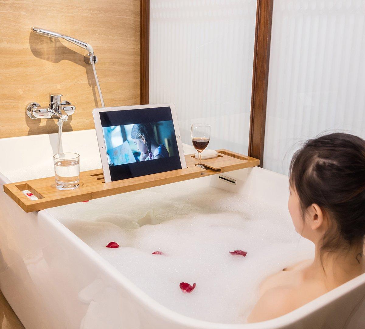 Gobam Expandable Bathtub Caddy Bathroom Reading Tray Organizer,Fits ...