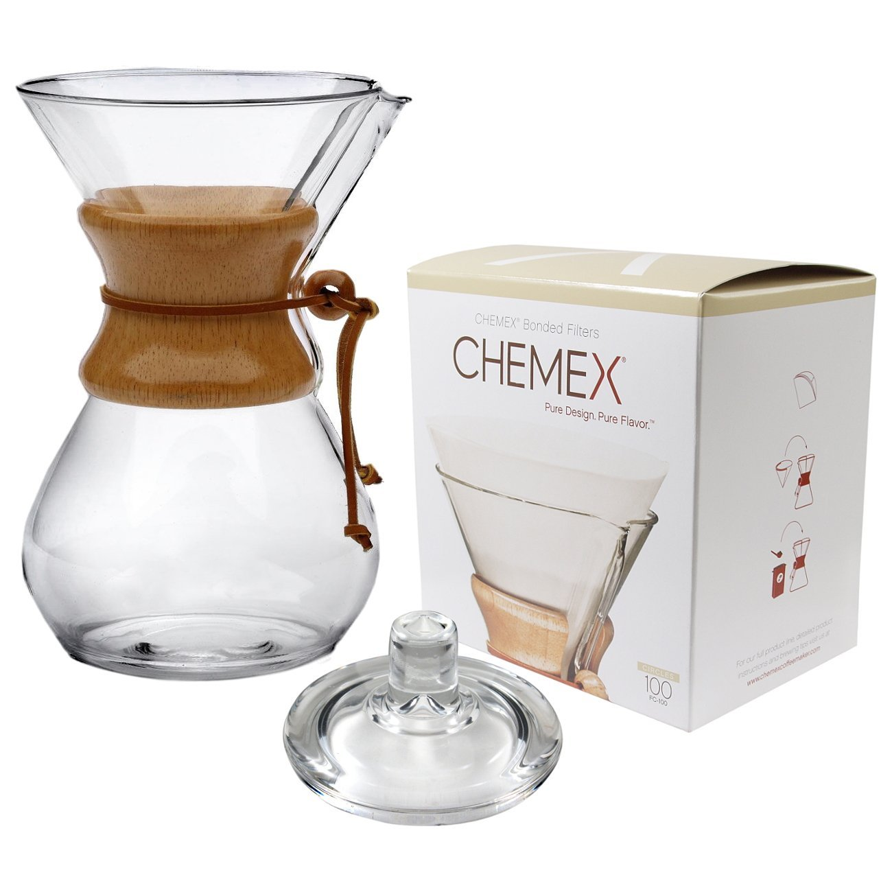 Chemex Classic Wood Collar and Tie Glass 50 Ounce Coffee Maker with Cover and 100 Count Bonded Circle Coffee Filters