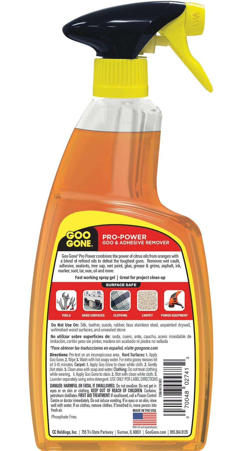 Goo Gone IUGYH Pro-Power Spray Gel - 24 Ounce - Surface Safe, Great Cleaner, No Harsh Odors, Removes Stickers, Can Be Used On Tools 2 Pack by Goo Gone (Image #2)