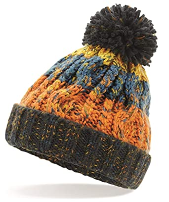 Child Baby Winter Woolly Wool Cable Knit Handmade Bobble Hat Beanie Cap T
