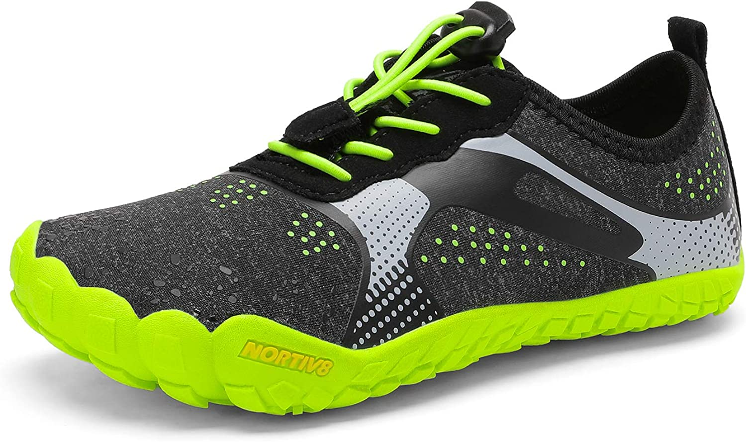 NORTIV 8 Kids Water Shoes for Boys Girls Outdoor Athletic Lightweight Sport Shoes Quick Dry Barefoot Swim Beach Shoes Black Neon Green Size 5 Big Kid Aqua-k1