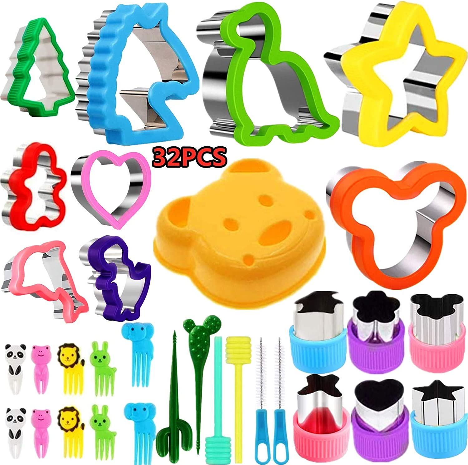Cookie Cutter, Vegetable Shape & Fruit Cutter Set 32 PCS, Multi-Size Sandwich Fondant Cake, Biscuit Cutter Include Santa Claus,Christmas Tree,Mickey Mouse, Dinosaur, Star,for Children