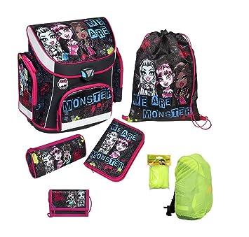 Monster high juego de mochilas escolares 6 tlg. Estuche, bolsa de deporte, diseño de Cars de seguridad/lluvia MHCP8251: Amazon.es: Juguetes y juegos