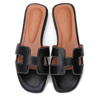 a33fb1025 GirlFriendMaterial Women Flat Casual Shoes Flip Flog H Sliders Ladies  Summer Sandals Flip On Slides PU