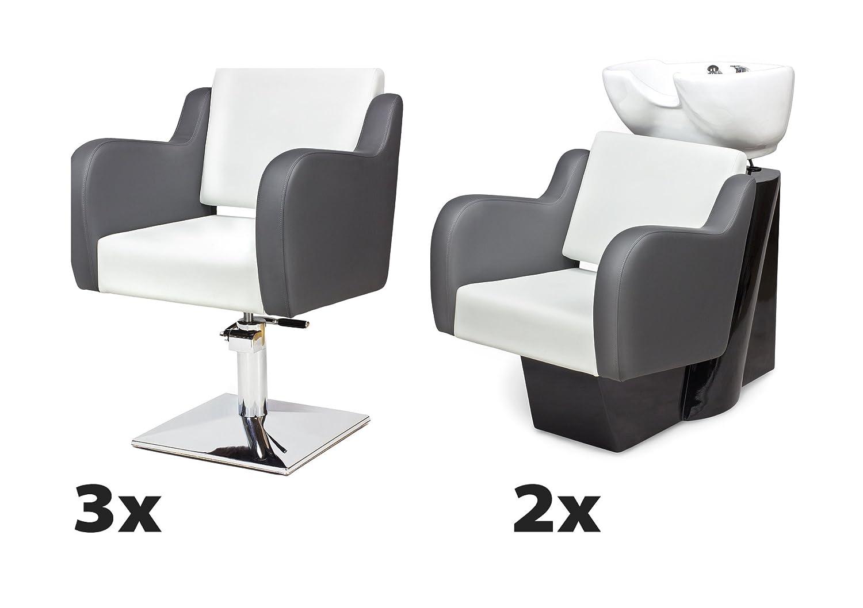 Kit Mobili per Parrucchieri NUVOLA 3 x poltrona parrucchiere + 2 x lavaggio parrucchiere 100 colori tappezzeria Capello